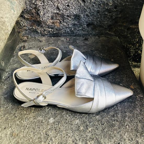 Silber perlen Leder Ballerina-Art