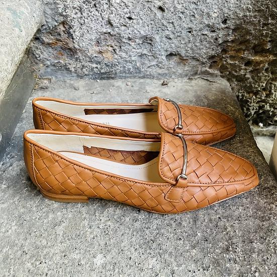 Cognac Leder-Mokasin geflochten