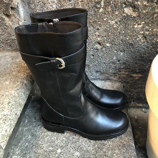 Lammfell gefütterte, schwarze Nappa-Leder Boots