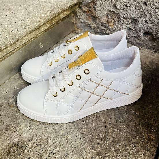 Leder  Sneaker  in Weiss / Gold