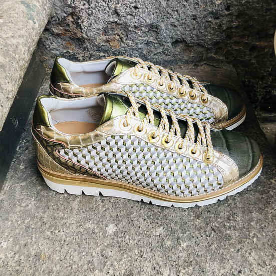 Fancy Leder-Sneaker Grün/Gold , Geflochtenes Leder
