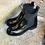 Thumbnail: Weiche Naplack-Leder Stiefelette in schwarz mit Rüschen