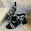 Thumbnail: Schwarze Leder-Sandale mit Leopard -Print
