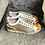 Thumbnail: Fancy Leder-Sneaker weiß mit Cognac-Platin Einsätzen