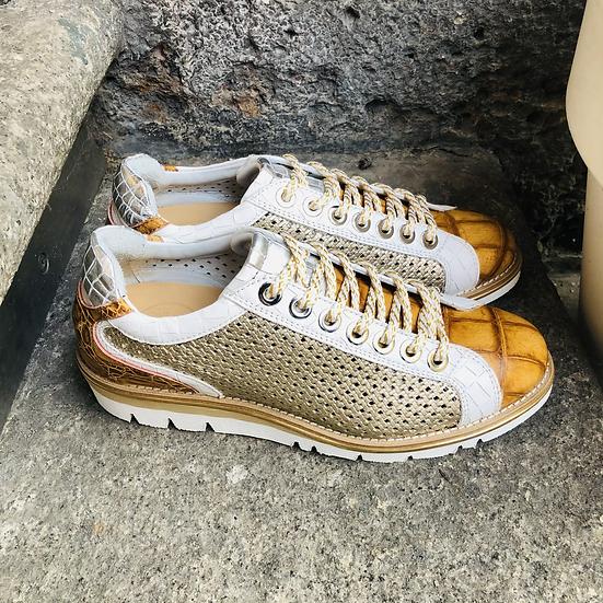 Fancy Leder-Sneaker weiß mit Cognac-Platin Einsätzen