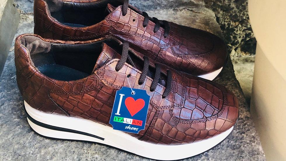Krokodil-Leder-Optik Sneaker Braun