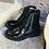 Thumbnail: Feine Leder-Schnürstiefelette, schwarz