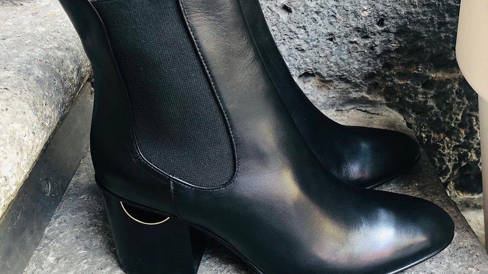 Leder Stieflette mit 6-7 cm Absatz