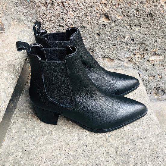 Coole Hirsch-Leder-Stieflette, schwarz