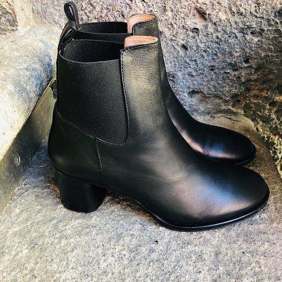 Klassische Nappa-Leder-Stiefelette, 5 cm Absatz, schwarz