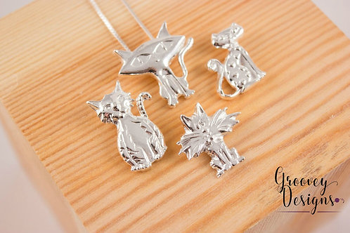 "Choice of Fine silver pendant GD212 ""Kitties"""