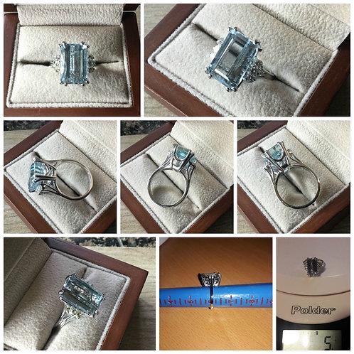 14K White Gold 7.60ctw Aquamarine & Diamond Cocktail Ring