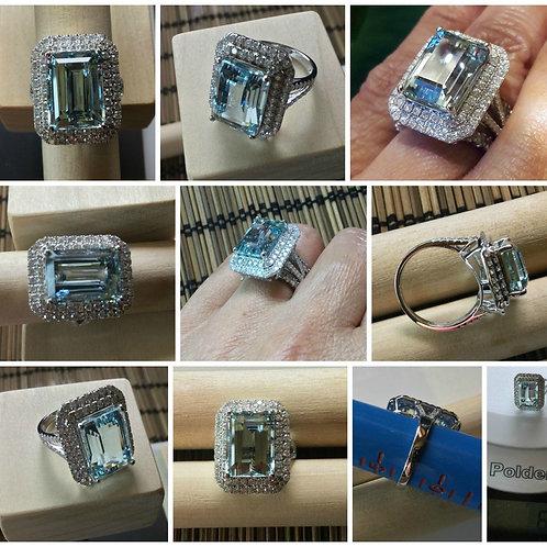 BIG and BOLD! 14kt White Gold Aquamarine and Diamond Ring