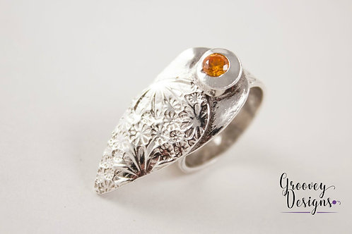 "Fine silver ring with orange cz GD102 ""Blush"""