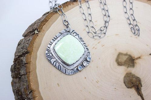GD318- Lemon Chrysoprase Fine Silver Necklace
