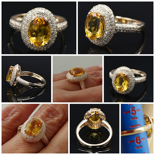 14kt YG Oval Yellow Beryl and Diamond Cocktail Ring
