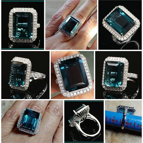 14kt WG Rectangular Fluorite and Diamond Cocktail Ring