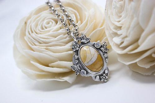 GD301- Brecciated Mookite Fine Silver Necklace