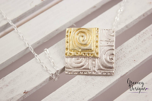 "Fine silver and gold pendant G202 ""Double Square"""