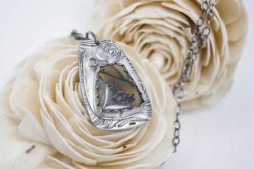 GD317- Morrisonite Jasper Fine Silver Necklace
