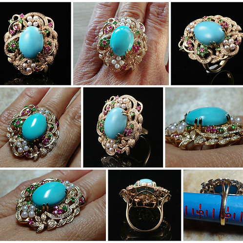 14kt YG Oval shape Sleeping Beauty Turquoise, Sapphires and Diamonds Ring