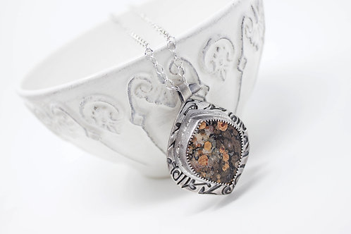 GD316- Leopard Skin Jasper Fine Silver Necklace
