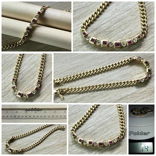 18kt Yellow Gold Diamond and Ruby Bracelet- OOAK- Custom