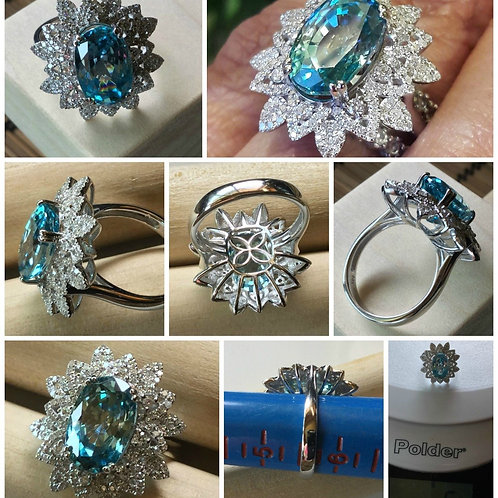14kt White Gold Cambodian Blue Zircon and Diamond Ring