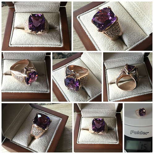 14K Rose Gold 8.10ctw Amethyst and Diamond Cocktail Ring