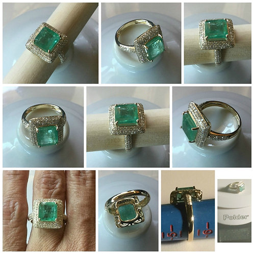 OOAK- 14kt YG Green Emerald and Diamond Cocktail Ring