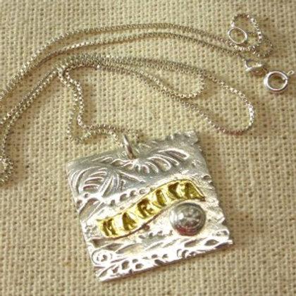 Custom Personalized Pendant in fine silver