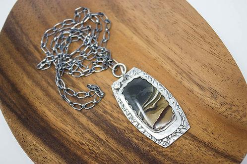 GD320- Landscape Jasper Fine Silver Necklace