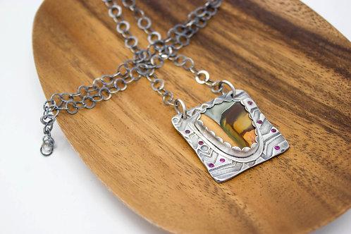 GD315- Polychrome Jasper Fine Silver Necklace