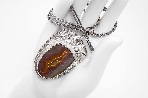 GD314- Laguna Agate Fine Silver Necklace