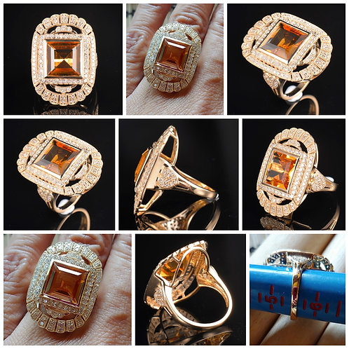 14kt YG Cushion Square Citrine and .73 points of Diamonds Ring