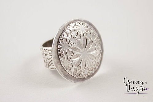"Fine silver ring floral design GD103 ""Miss Daisy"""