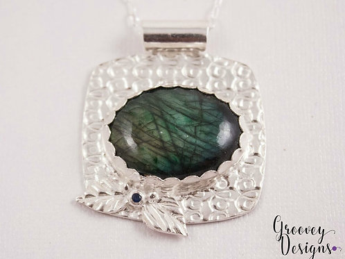 GD300- Labradorite Fine Silver Necklace