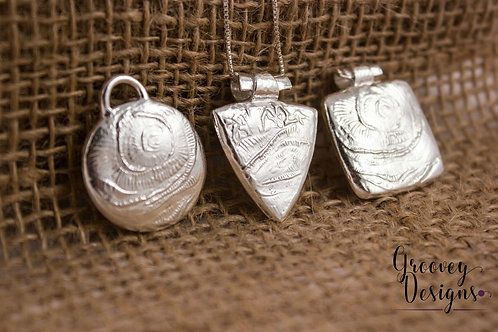 "Choice of Fine silver pendant GD203 ""Crackle"""