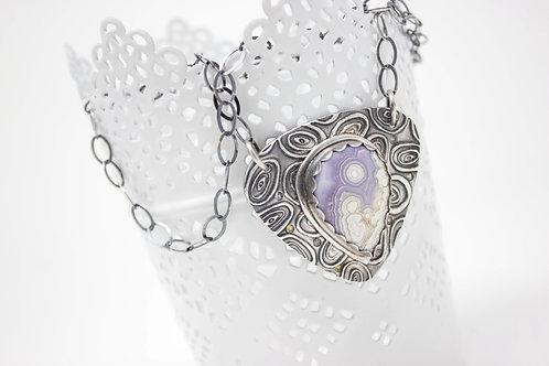 "GD309- ""Rare"" Laguna Agate Fine Silver Necklace"