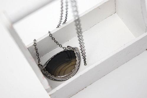 "GD310- ""Rare"" Black Bruneau Jasper Fine Silver Necklace"