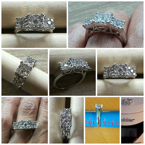 """Endless Diamonds"" 14kt WG Invisible set 3- Stone Design Ring"