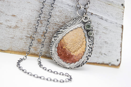 GD311- Petrified Palm Wood Fine Silver Necklace