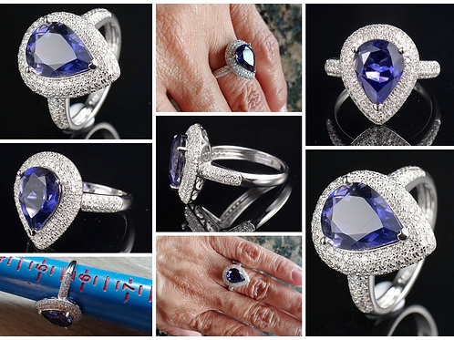 14kt White Gold Iolite and Diamond Ring