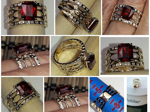 14kt Yellow Gold Spessartite Garnet and Diamond Band Ring