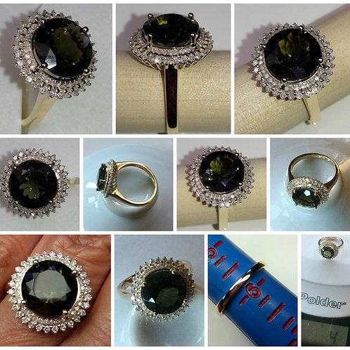 14kt Yellow Gold Moldavite and Diamond Crown Ring