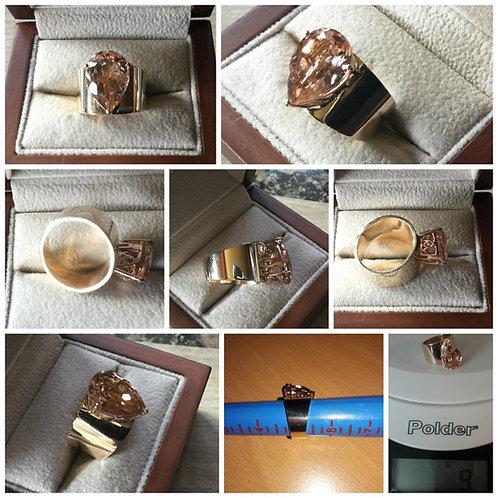 14K YG & 10K RG 4.0ctw Pear Shaped Morganite Ring