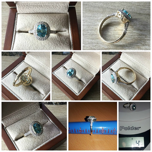 Blue and White Zircon 3.09ctw Halo Yellow Gold Ring