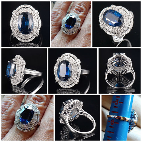 14kt WG Oval Kyanite and Diamond Cocktail Ring