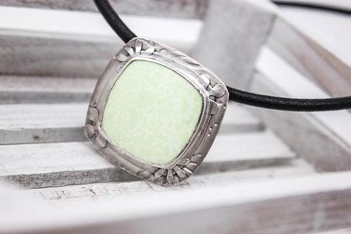 GD305- Lemon Chrysoprase Fine Silver Necklace