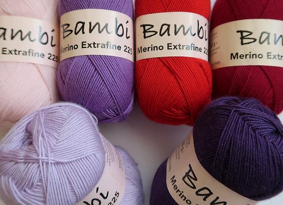 Mischpaket 6x Bambi  (Rot-Pink-Violett)
